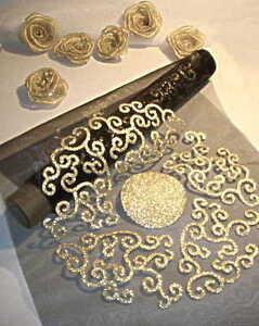 3 rollen 1 8m organza tischband 28cm tischl ufer schwarz gold weihnachten ebay - Organza dekostoff rollen ...
