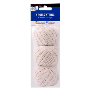 Pack of 3 Cotton String Balls Grey Strings Twine Rope Household Home Office 5158
