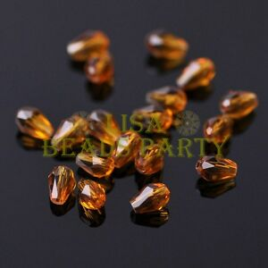 New-100pcs-5X3mm-Teardrop-Crystal-Glass-Faceted-Spacer-Loose-Beads-Topaz