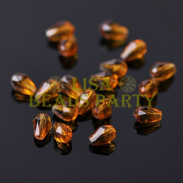 New 100pcs 5X3mm Teardrop Crystal Glass Faceted Spacer Loose Beads Topaz