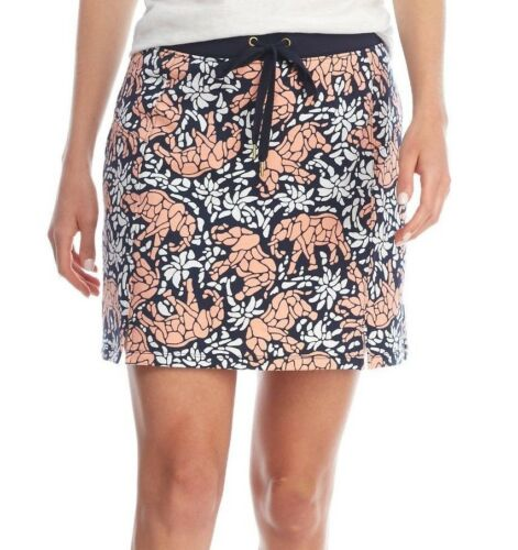 Crown /& Ivy Navy//Coral//White Elephant Print Stretch Cotton Drawstring Skort