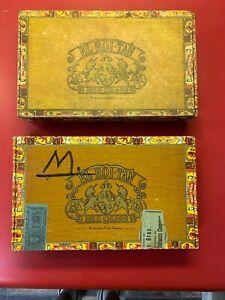 VINTAGE-El-ROI-TAN-Cigar-Box-Vintage-10-Cents-Lot-Of-2-Cigar-Boxes-Antique-Decor