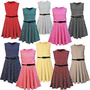 New Girls Kids Polka Dot Spot Skater Dresses with Patent Belt Age 7-13 years