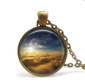 Ciel Collier Verre Cabochon Bronze Chaîne Collier Ciel Bleu Ciel Coucher de soleil