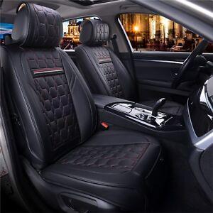 Sitzbezuege-Komplettsatz-Kunstleder-Schwarz-mit-roter-Naht-Schonbezug-Sitzbezuege