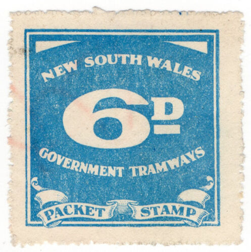 I.B Australia NSW Government Tramways Parcel Stamp 6d