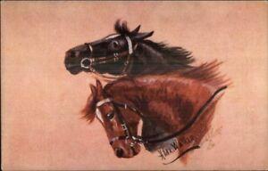 Horse-Heads-by-Hilda-Walker-TUCK-Oilette-9692-c1910-Postcard