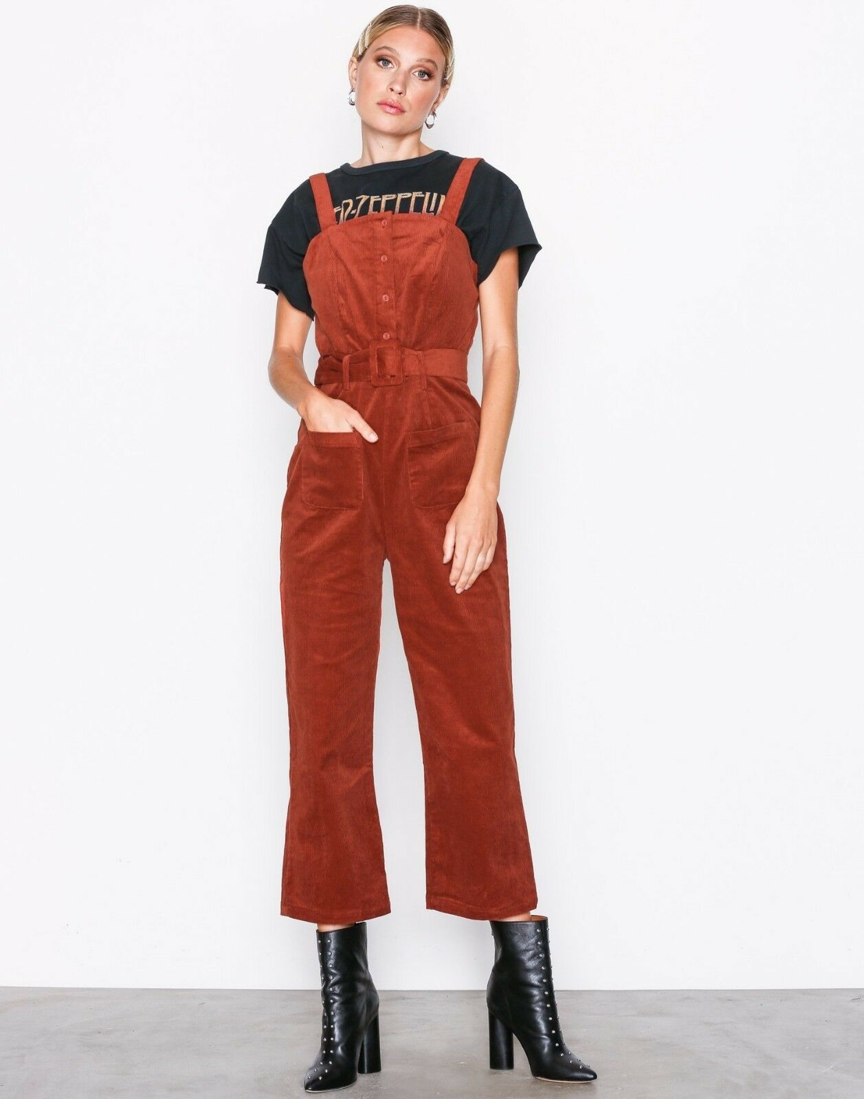 NEW GLAMgoldUS CORD CORDUROY BELTED RUST CROPPED CROP LEG JUMPSUIT
