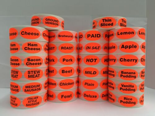 Br//Red PAGADO Paid Retail Supermarket Deli Food Packaging Stickers 500 Labels