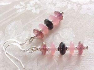Fuchsia-Pink-Black-Earrings-Retro-Minimalist-Stack-Glass-Disc-Space-Age-Modern