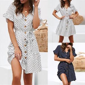 ❤️ Damen V-Neck Strandkleid Sommerkleid Gepunktet Kurzarm Partykleid Minikleid