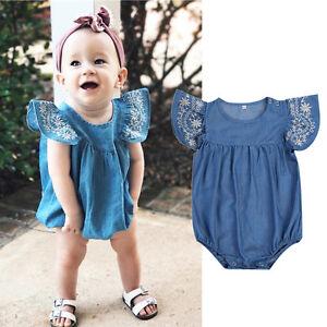 4a488071fada La foto se está cargando Toddler-Baby-Girls-Infant-Clothes-Denim-Rompers- Jumpsuit-
