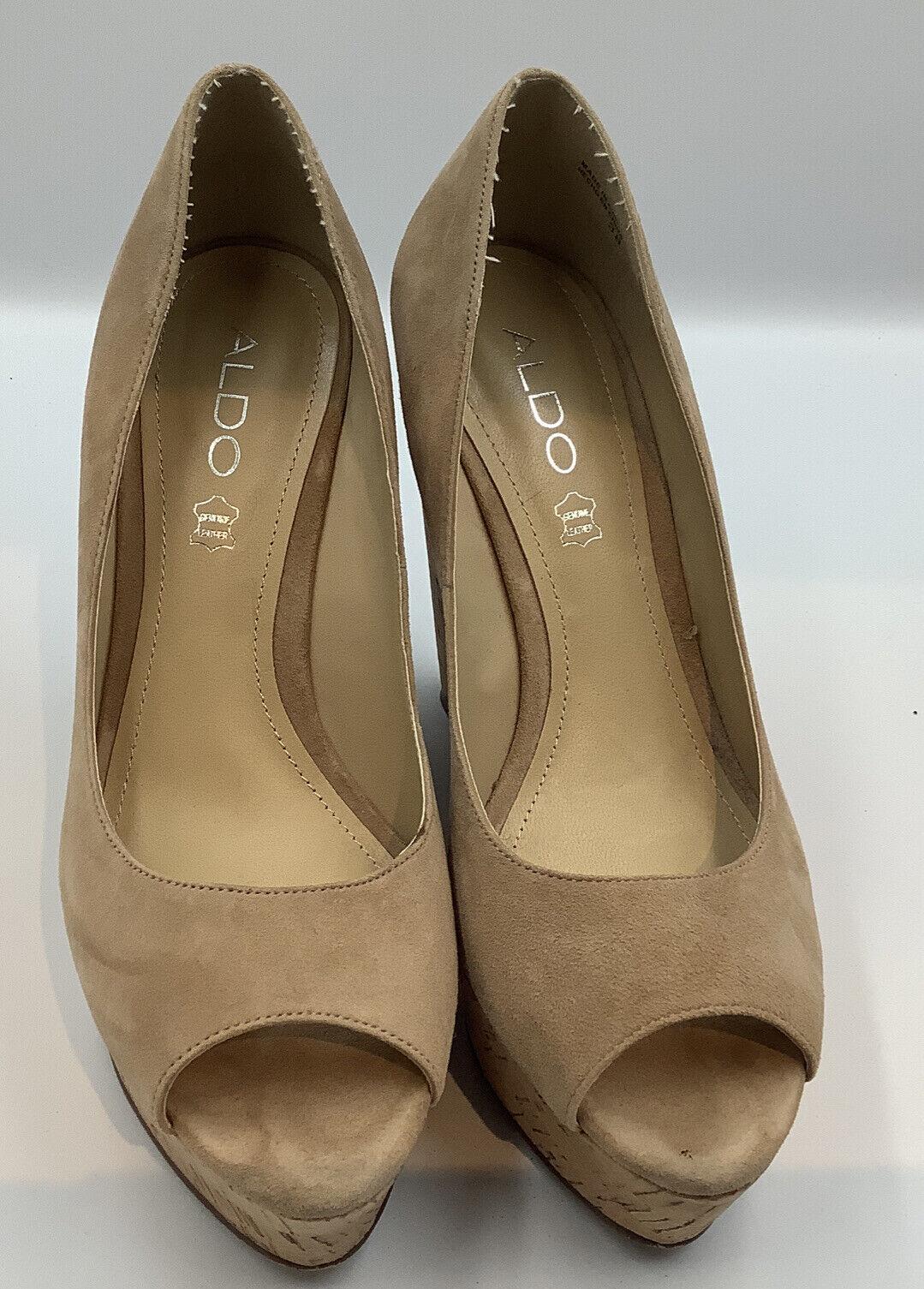 Aldo Leather Peep Toe Cork Wedges Size Eu 38 Uk 5