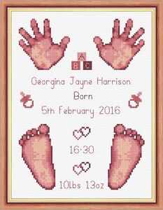 Image is loading Dusky-Pink-Baby-Girl-Birth-Sampler-Hands-amp-