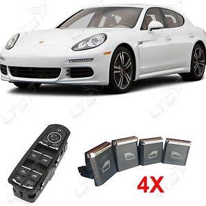 Porsche-Panamera-control-de-la-ventana-Control-Adorno-CROMO-Boton-Kit-x-4
