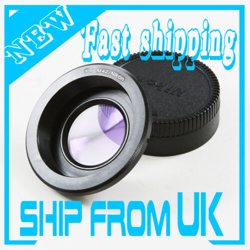 M42 screw Lens to Nikon F mount Adapter focus infinity Glass optical D750 D500