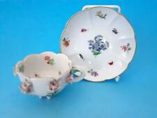 ANTIQUE MEISSEN CUP & SAUCER WITH ENCRUSTED FLOWERS & BUTTERFLIES & BUGS