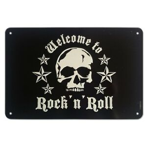 Tin-Sign-Skull-Welcome-to-Rock-N-Roll-24-x-16-cm-Stainless-Steel