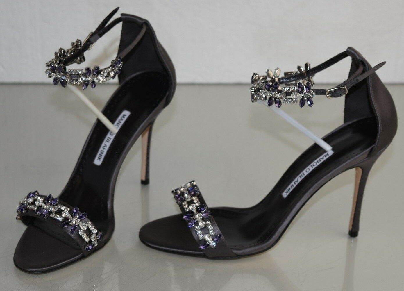 1255 NEW NEW NEW Manolo Blahnik FIRADUO 105 Satin Jeweled Sandals grau schuhe 40 40.5 41 0ce05b
