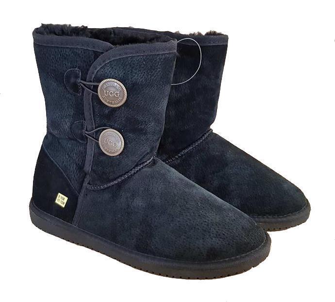 EsES botas de cordero bkacksheep mitad mediana botón masculino negro