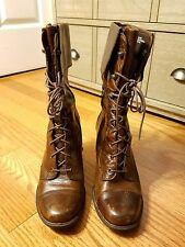 Women's Brown Born Lace Up Granny Skylark Boots Sz 9
