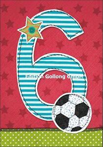 Gluckwunschkarte Zum 6 Geburtstag Fussball Effektlack Zahl 12 5x18 5