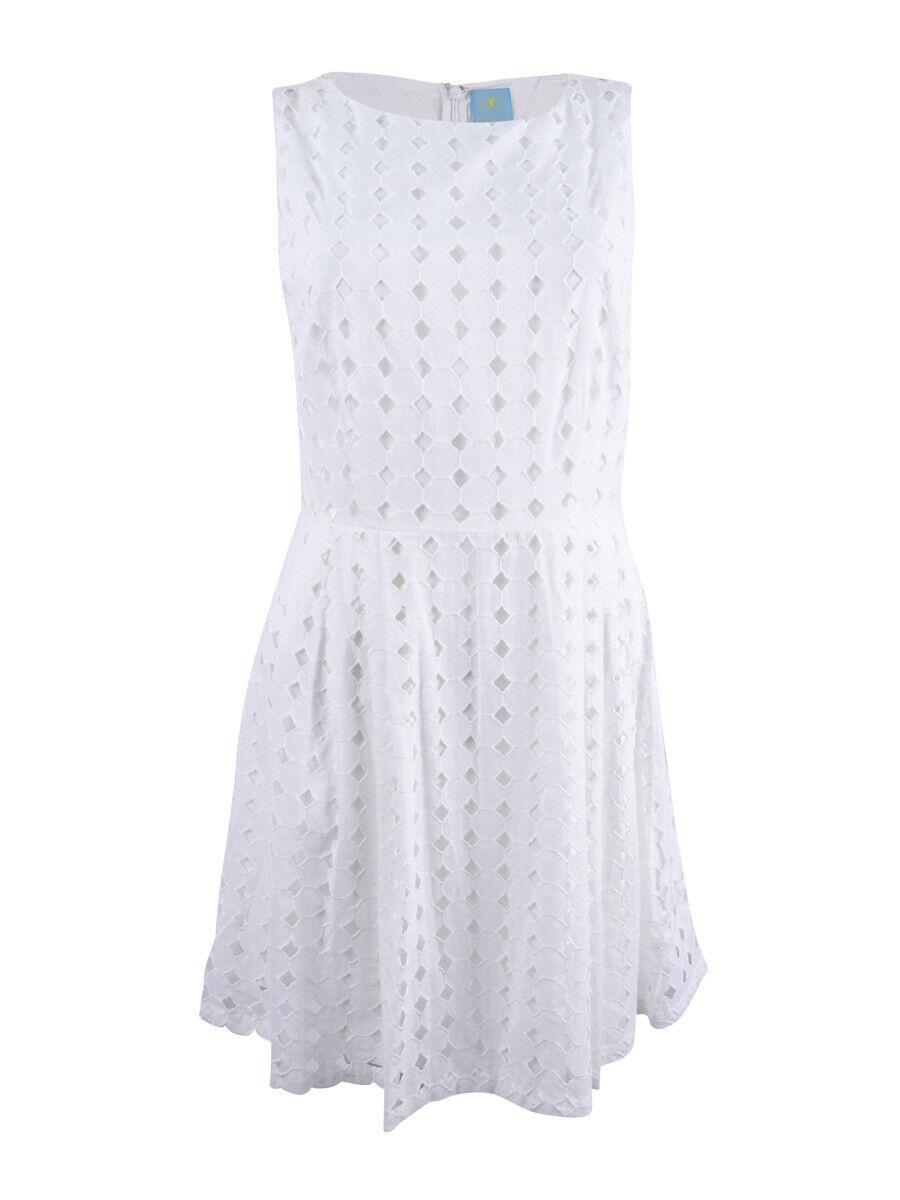 CeCe Woherren Eyelet Fit & Flare Dress (6, New Ivory)