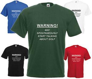 Avertissement-spontanement-parler-de-Golf-Drole-T-Shirt-Humour-Blague-Golfeur-tee-top