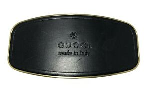 GUCCI WIDE LEATHER AND METAL BELT BUCKLE