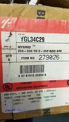 YGL34C29 BURNDY CROSS CONNECTOR 250-500 KCML BOX OF 6
