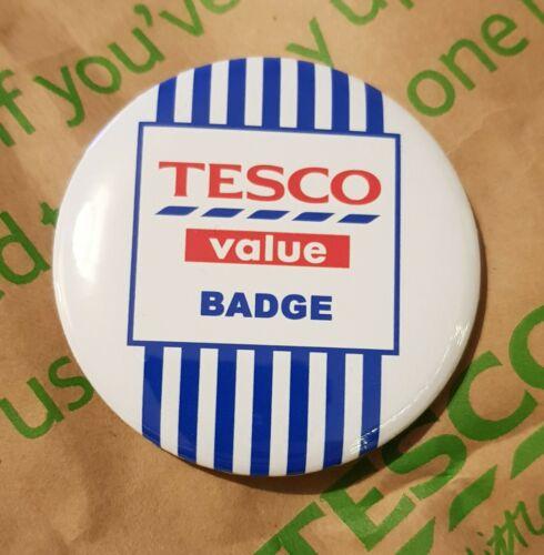 Large 58mm Tesco Value Budget Blue Stripe Pin Button Badge Novelty Joke Funny