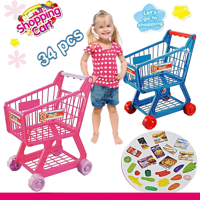 kids shopping trolley children 36pcs food supermarket play toy set w accessories ebay. Black Bedroom Furniture Sets. Home Design Ideas
