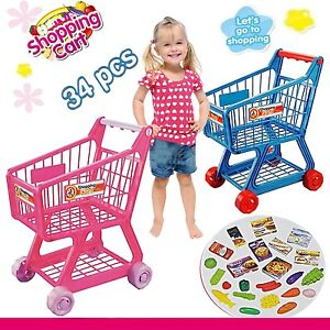 Kids Childrens Role Play Supermarket Shopping Trolley Pink With Food Accessories