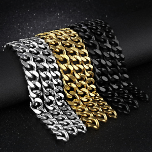 Men-039-s-Fashion-316L-Stainless-Steel-Bracelet-Curb-Lock-Link-Bracelet-Chain-Bangle