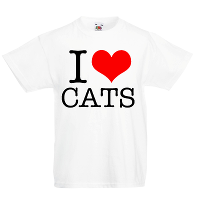 I LOVE CAT KID/'S T-shirt Bambini Ragazzi Ragazze Unisex Top GATTINO MEOW