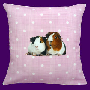 CUSHION-pad-included-CUTE-GUINEA-PIGS-ON-PINK-WITH-WHITE-POLKA-DOT-12-034-PILLOW