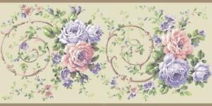 Wallpaper-Border-Designer-Large-Lavender-Pink-Green-Rose-Floral-Scroll-on-Taupe