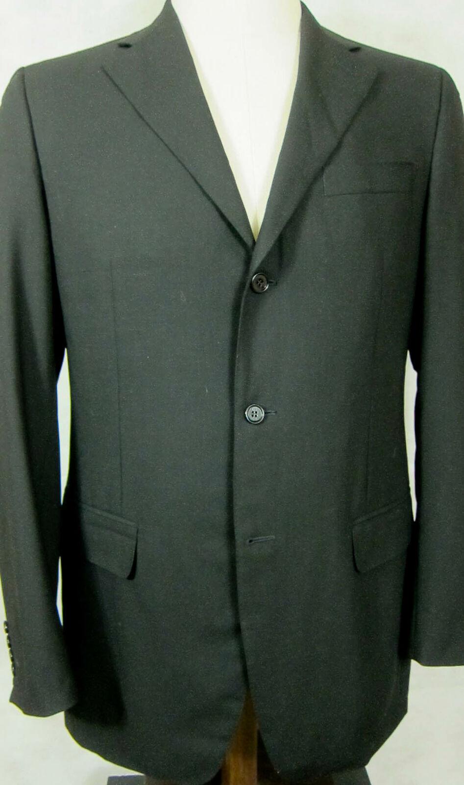 Magnifique Canali black Uni Léger Laine Sport Blazer Manteau Veste de Costume 40l