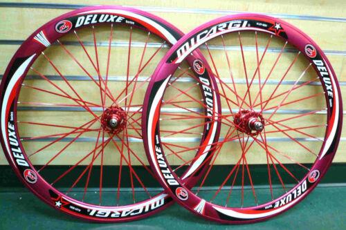 700c 32HFixed Gear Front /& Rear Wheels w Flat Blad spokes Sealed Bearing Red