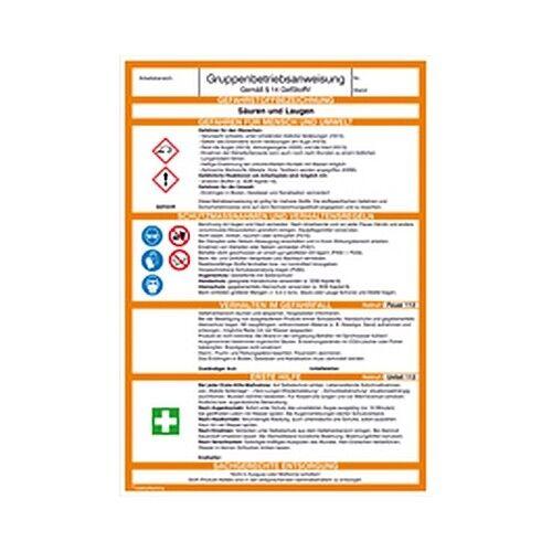 Betriebsanweisung Gefahrstoff Säuren und Laugen Ø21x29,7cm PVC