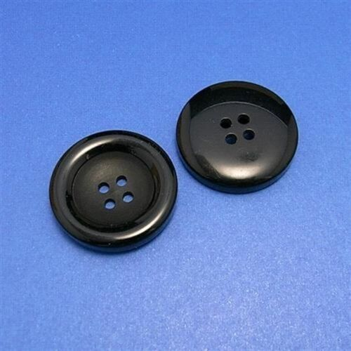 8 Large Big Coat Jacket Round 4 Holes Strong Sew On Buttons 34mm 54L Black L78