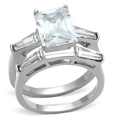 Stainless Steel Engagement 2 Ring Set Emerald Cut CZ Solitaire w Accent