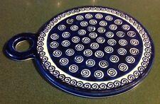 Boleslawiec Polish Pottery Blue & White Round Cutting / Cheese Board Trivet Tray