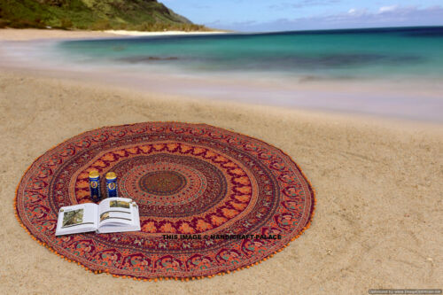 "Indian Mandala Round Bohemian Hippie Mat Tapestry Decor 72/"" Pom Lace Beach Throw"