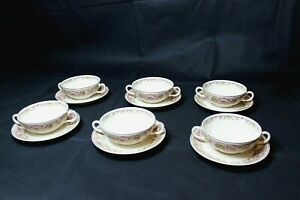SYRACUSE-CHINA-OLD-IVORY-6-CREAM-SOUP-BOWLS-WITH-SAUCERS-FRUIT-BOWL-AND-ROSES