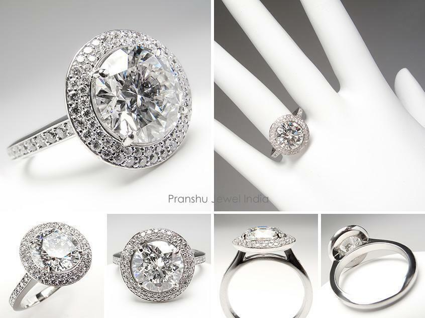 2.32Ct White Moissanite Double Halo Wedding Engagement Ring Solid 14k White gold