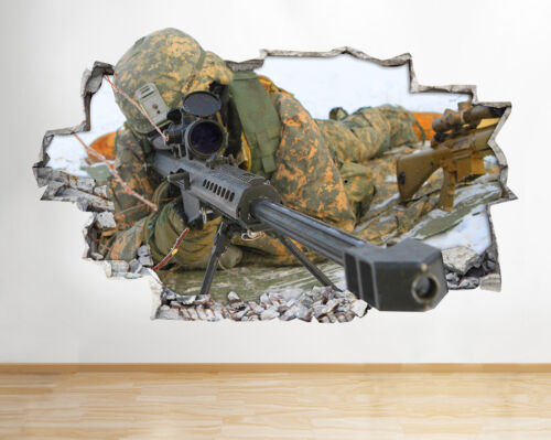 I054 Army Sniper Soldier War Boys Smashed Wall Decal 3D Art Stickers Vinyl Room