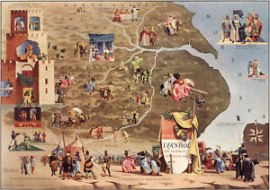 Pictorial-Literary-Map-The-tale-of-Ivanhoe-Wall-Art-Poster-Print-Litterature