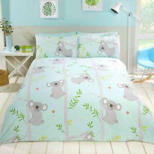 Koala-Amusant-Housse-Couette-Simple-Set-Bleu-Gris-Chambre-Enfants-Arbres-Fleurs