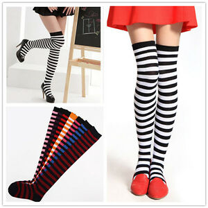 Women-Girl-Striped-Thigh-High-Long-Over-Knee-Ladies-Stripe-Print-Patterned-Socks